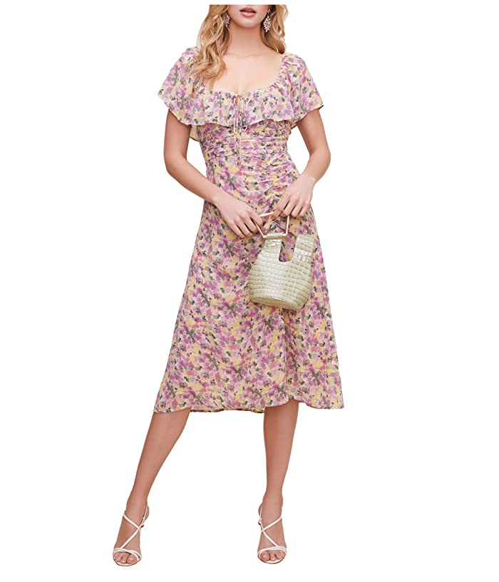 ASTR the Label  Sylvia Dress (Yellow Lilac Multi Floral) Womens Clothing