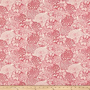 Wilmington Prints Le Bouquet Floral Toile Pink, Fabric by the Yard