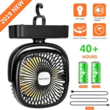 COMLIFE Portable LED Camping Lantern with Tent Fan -4400 mAh Battery Powered Mini Desk Fan with USB Charging Input-Survival Kit for Hurricane, Emergency, Storm, Outages