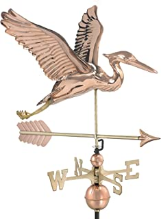 Good Directions Blue Heron with Arrow Weathervane - Pure Copper