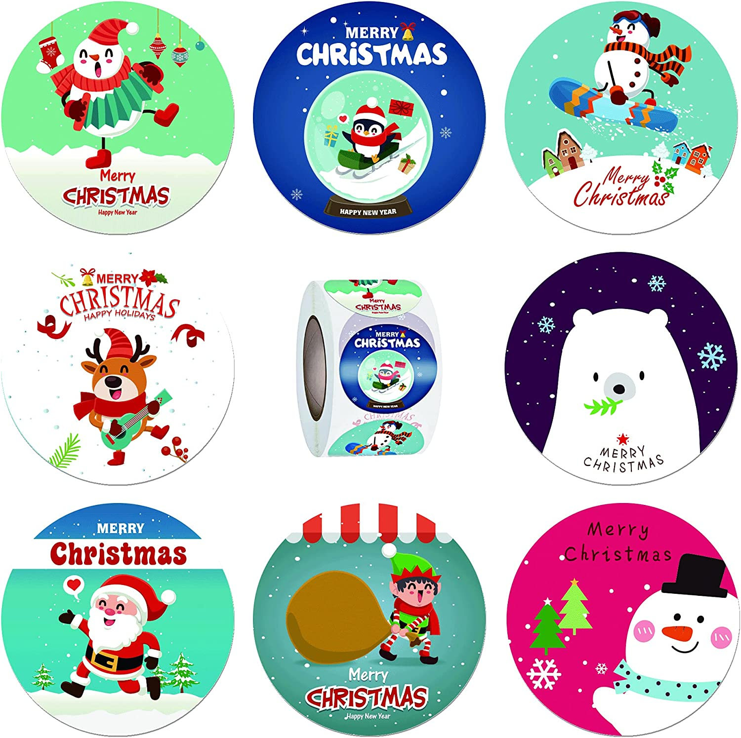 Christmas Stickers Roll 2 Inch for Kids Christmas Party Decorations Envelope Seals Gift Card Gift Box Decoration 500pcs 8 Kinds of Design