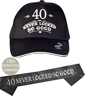 40th Birthday Hat for Men, 40 Never Looked So Good Hat Baseball Cap Black, 40th Birthday for Men, 40th Birthday Party Supplies Gifts and Decorations Male