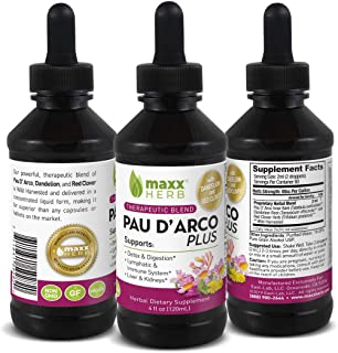 Maxx Herb Pau D' Arco Plus Liquid Extract (4 Oz Bottle with Dropper) Therapeutic Blend: Pau D Arco, Dandelion & Red Clover...