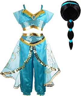 Jasmine Costume for Girls Arabian Sequined Princess Dress Up Princess Cosplay Costumes for Kids