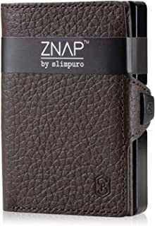ZNAP Credit Card Holder with Money Clip - Aluminium Wallet with Coin Case - RFID Blocking - Slim Wallet Brown Grained - Up...