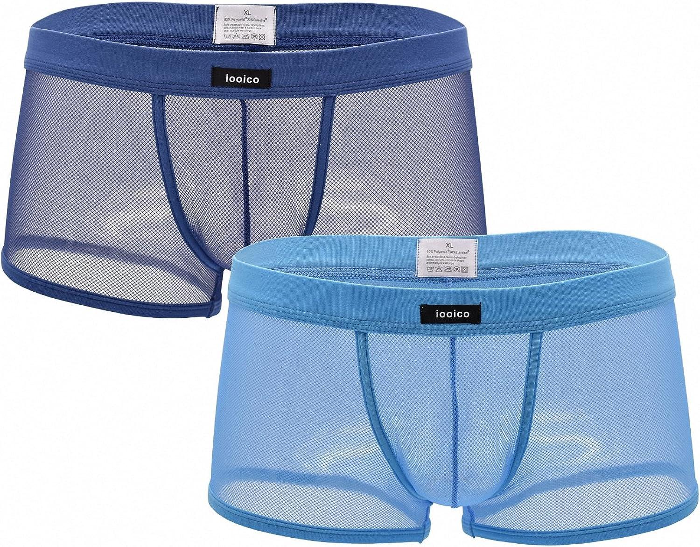 iooico Men's Boxer Briefs, Soft Mesh Underpants See-Through Air 1.1 Underwear - Fishnet Design