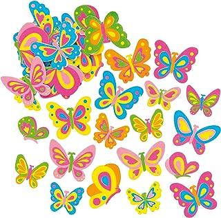 Baker Ross Lot de 102 Autocollants Papillons en Mousse- Idéal pour Les activités Scrapbooking