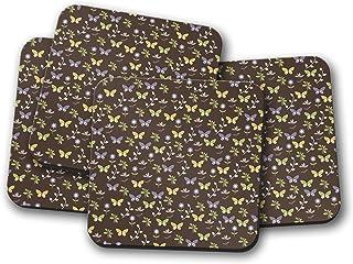 Fondo marrón con posavasos con diseño floral y mariposa, posavasos individuales o juego de 4