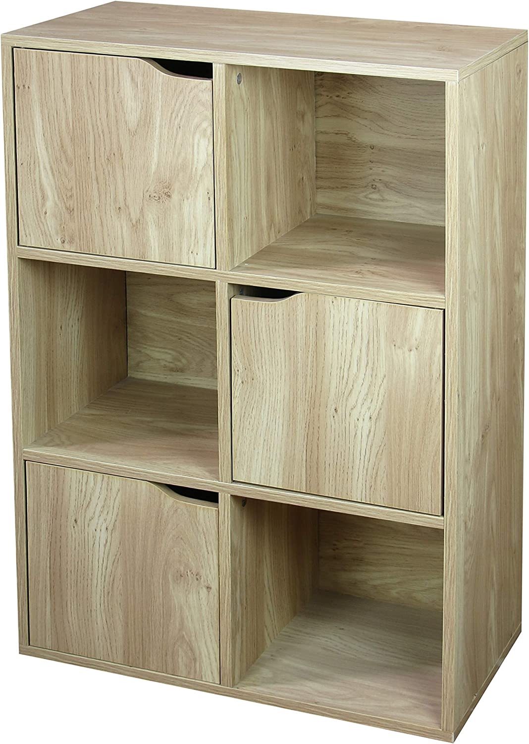 Home Basics Cube Shelves Natural Wood Shelf with Doors, Room, Clothes Storage, Home Décor, Bookshelf, Toy Organizer Home & Office – 3 Open 3 Cabinet-Style (6 C