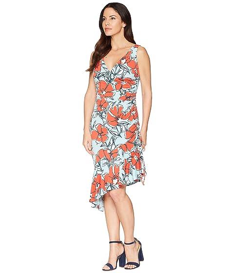 Aqua brillante vestido Printed Jersey Sketch acanalado lado Poppy London naranja Maggy qZHAwCC