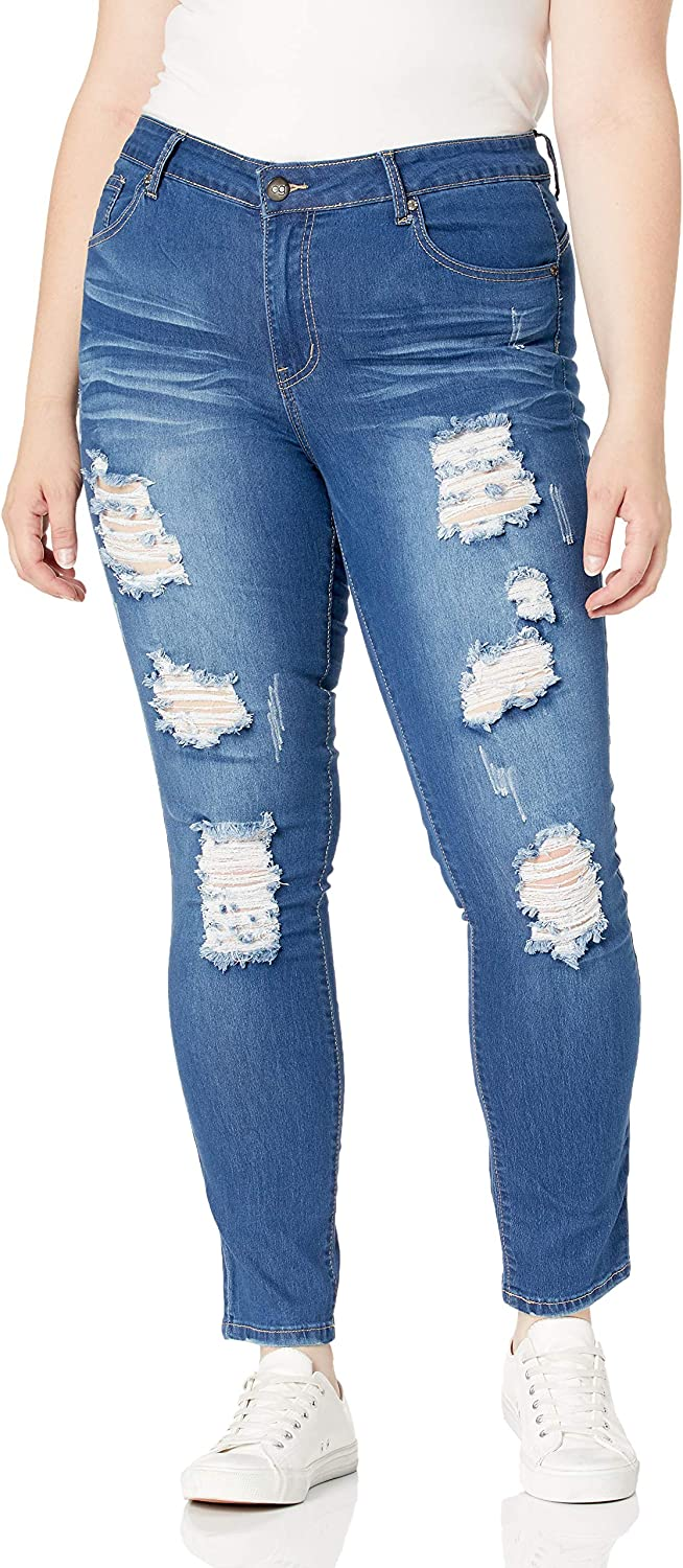 CoverGirl Womens Cute Mid Rise Waisted Ripped Distressed Torn Skinny Juniors Jeans