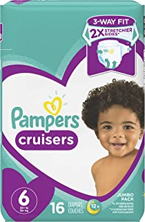 Diapers Size 6, 16 Count - Pampers Cruisers Disposable Baby Diapers, Jumbo Pack (Packaging May Vary)