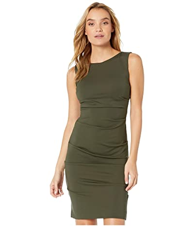 Nicole Miller Ponte Sleeveless Tucked Dress (Fatigue) Women