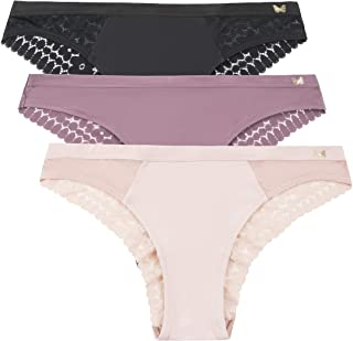 Women's Brushed Microfiber and Lace Tanga Underwear Multi-Pack