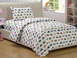 Queen Size 4pc Sheet Set for Boys Trucks Cars Tractors White Yellow Red Green Blue New