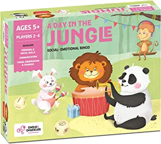 Chalk and Chuckles A Day in The Jungle Picture Bingo Game- Social Emotional Learning Toy, Developmental and Educational Ga...