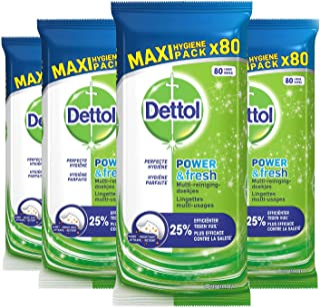 Dettol Power en Fresh MultiReinigingsdoekjes Original 4 x 80 Doekjes Grootverpakking