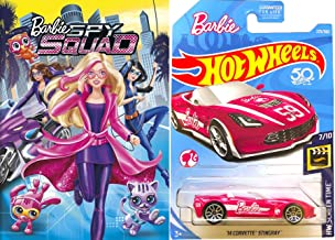 Corvette Barbie Animated Movie Toy Pack Girls Fun Cartoon DVD Spy Squad + Hot Wheels Pink Convertible car