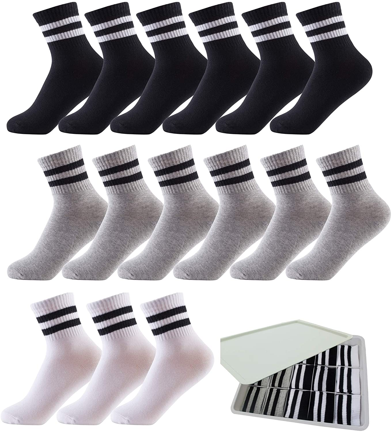 Oohmy Boys Socks 15 Packs for 13-15 Years Old Boys and Girls, Cotton Athletic Ankle Socks, Assorted Colors Black+White+Grey, Size XL/ Shoe Size 6-9/ Typical Age 13-15 years old and Up
