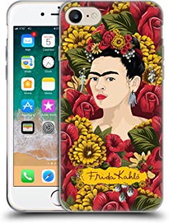 Official Frida Kahlo Portrait Pattern Red Florals Soft Gel Case Compatible for iPhone 7 / iPhone 8