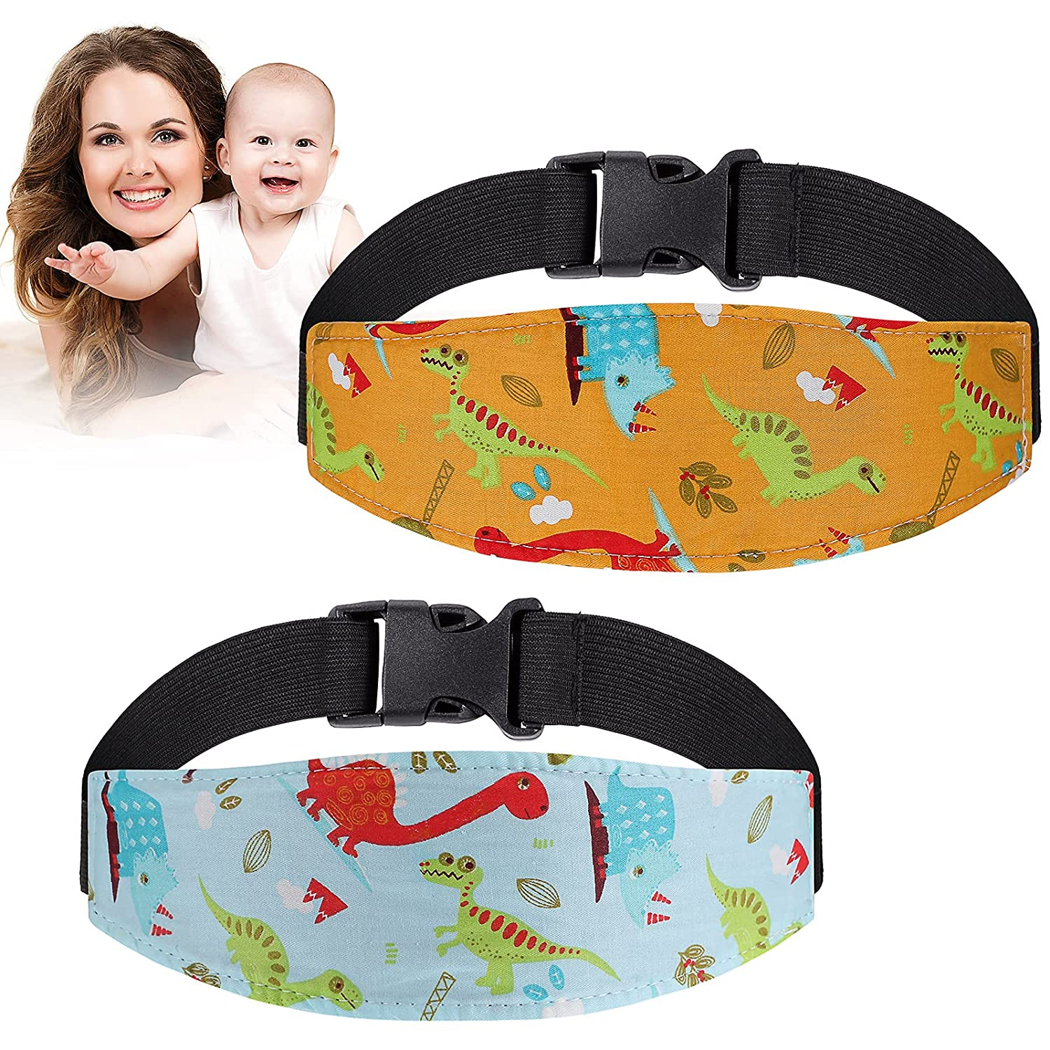 2 Pieces Baby Head Strap for Car Seat Toddler Baby Carseat Head Support Stroller Neck Relief Head Band Sleeping Baby Headband Head Support Band for Toddler Child Kids Infant Travel