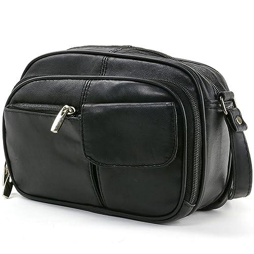 b6eff7752453 Womens Leather Adjustable Strap Multi Pocket Organizer Cross Body Purse  Black