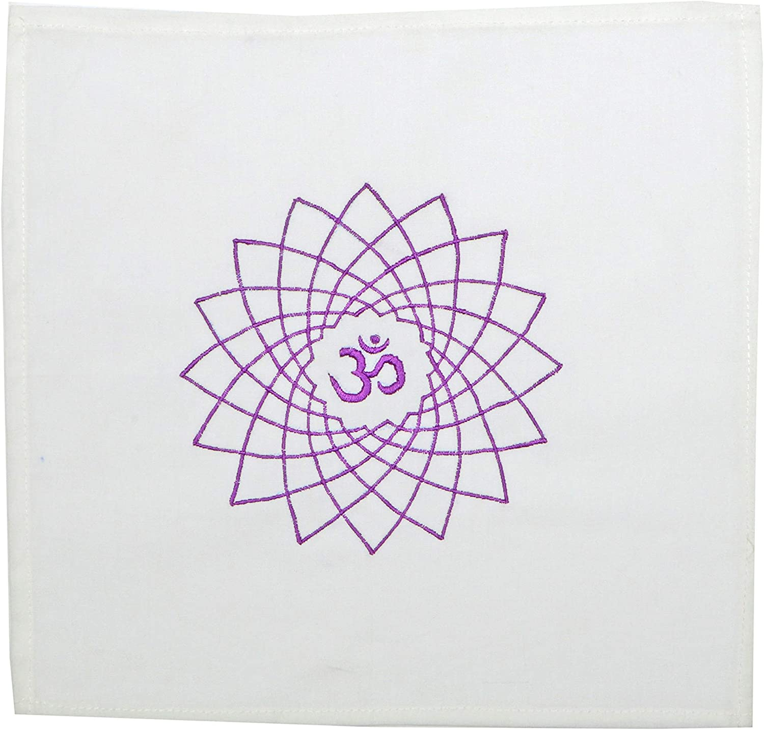 Crown Chakra Symbol with Sanskrit Syllable Hand Embroidered on a White Cotton Cloth 7 Chakra Products for Grids