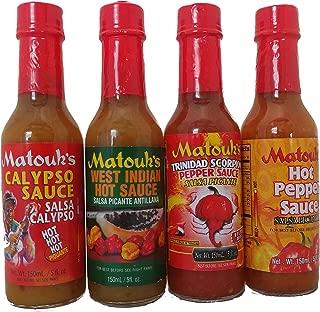 Matouks Hot Sauce Combo-4pk Variety 5 Oz (WEST INDIA HOT SAUCE 5 OZ CALYPSO HOT SAUCE 5 OZ SCORPION HOT SAUCE 5 OZ HOT PEPPER SAUCE 5 OZ)