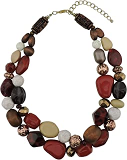 2 Layer Statement Chunky Beaded Fashion Necklace for Women Gifts