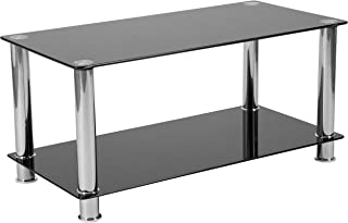 Flash Furniture Riverside Collection Black Glass Coffee Table with Shelves and Stainless Steel Frame - HG-112347-GG