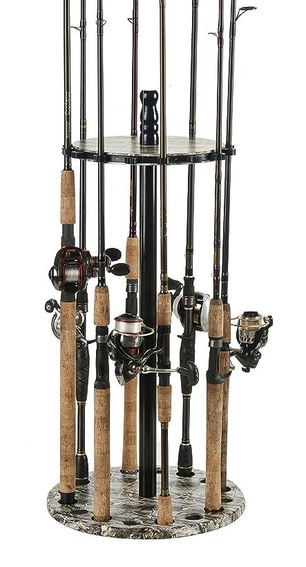 Organized Fishing Round Floor Rod Rack, 15 Capacity