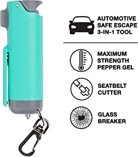 SABRE RED Safe Escape Pepper Gel, Seatbelt Cutter and Window Glass Breaker – 3-in-1 Car Safety Tool with Maximum Police Strength Pepper Gel, Keychain Snap Clip for Quick Access – Gel is Safer