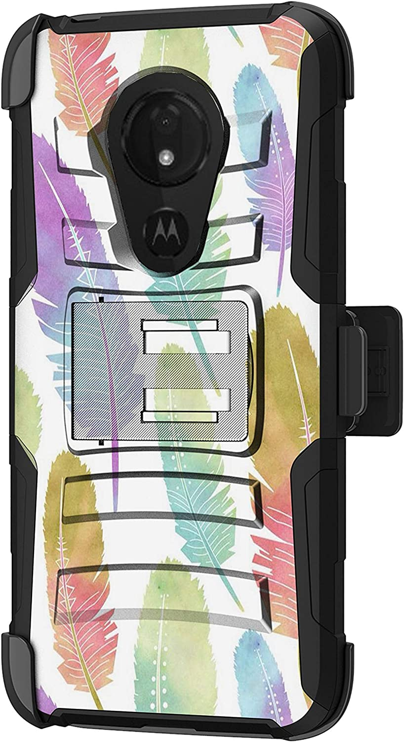 TurtleArmor   Compatible with Motorola Moto G7 Power Case   Moto G7 Supra Case [Hyper Shock] Fitted Armor Holster Belt Clip Hybrid Cover Stand Shock Protective Case - Colorful Feathers