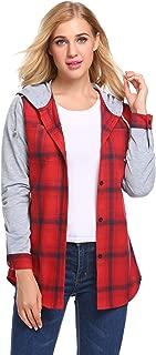 Concep Women's Classic Plaid Flannel Shirt Long Sleeve Button Down Checked Hoodie Sweatshirt S-XXL