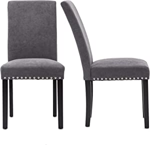 Upholstered Dining Chairs Padded Parson Chair with Silver Nails and Solid Wood Legs Set of 4 (Gray)