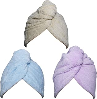 Chikoni Hair Towel Wrap Turban 3 Pack Super Absorbent Microfiber Quick Dry Hair Towel with Button, Dry Hair Hat, Wrapped B...