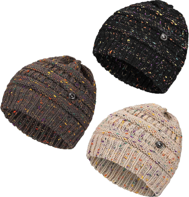 Geyoga Confetti Knit Beanie Hat with Button Thick Beanie Cap Unisex Soft Hat