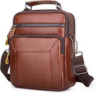 BAIGIO Bolso Bandolera Hombre de Cuero Bolso de Hombro Piel Vintage Crossbody Bag Casual