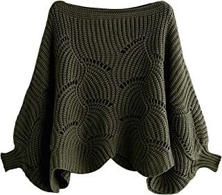 Milumia Women's Loose Hollow Out Knit Batwing Sleeve Dolman Jumper Sweater