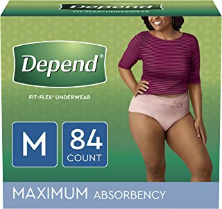 Depend FIT-FLEX Incontinence Underwear for Women, Disposable, Maximum Absorbency, Medium, Blush, 84 Count