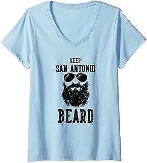 Womens Keep San Antonio Texas BEARD Funny Hipster Retro V-Neck T-Shirt