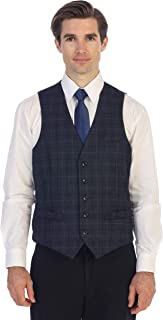 Men's 5 Button Slim Fit Formal Herringbone Tweed Suit Vest