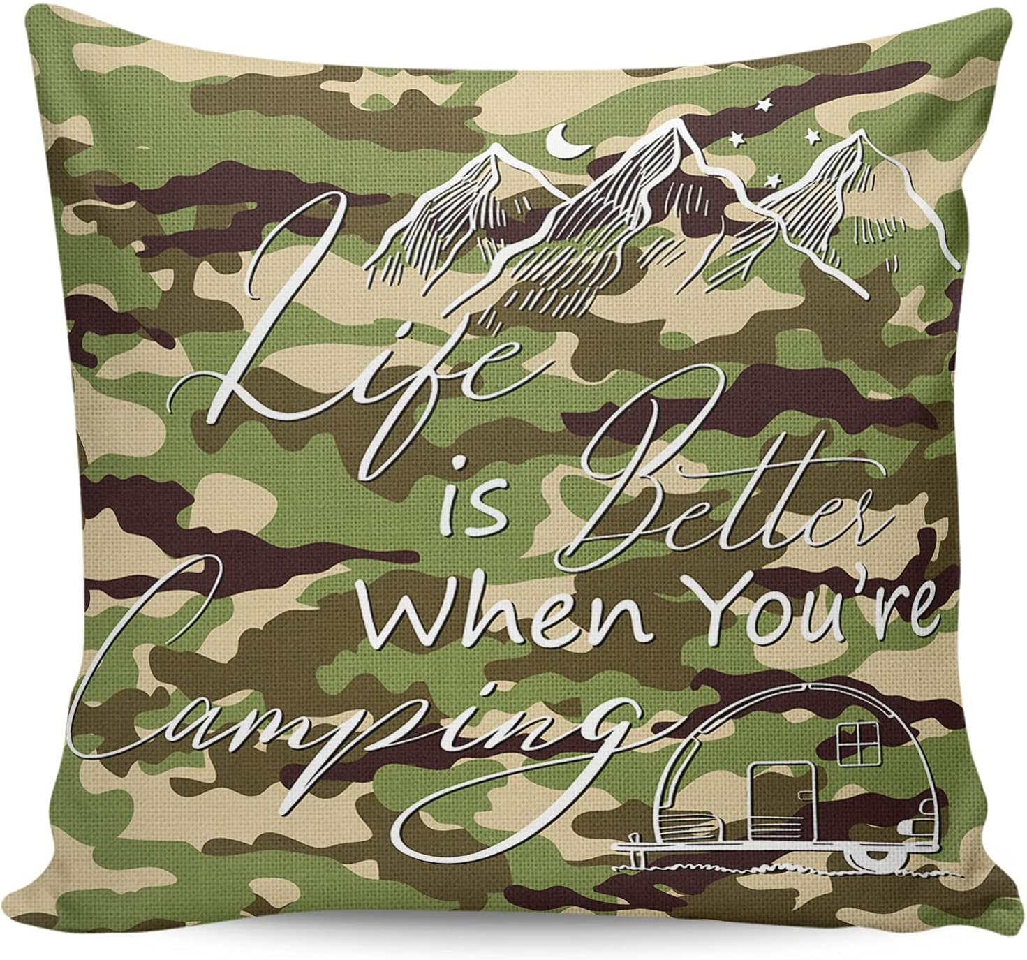 ARTSHOWING Camping Trip Decorative Square Thro Couch Kansas City Mall New mail order Pillowcase