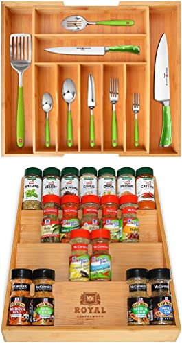 2021 Bamboo lowest Drawer Organizer and Spice Rack Organizer 2021 by Royal Craft Wood online