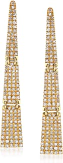0.69 ct. t.w. Pave Diamond Triangle Drop Earrings in 14kt Yellow Gold