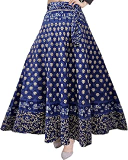 Rajvila Women's Cotton Printed Long 36 Inch Length Regular Wrap Around Skirt Colour (F_W36NT_0009)
