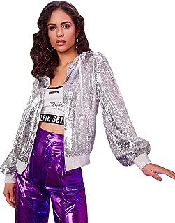 Verdusa Women's Zip Up Glitter Sequin Drawstring Hooded Bomber Jacket