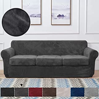 Rose Home Fashion 4 Piece Velvet Sofa Covers for 3 Seaters, Stretch Sofa Cover, Couch Cover, Suitable for Sofas of Length ...