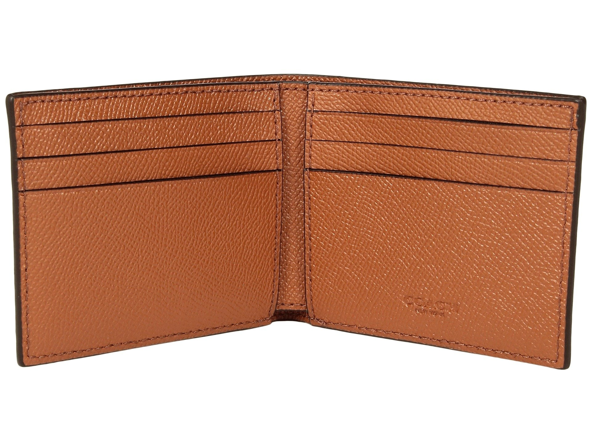 Slim Burnished Coach In Ginger Crossgrain Billfold v8f4wC