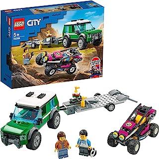 LEGO 60288 City racerbussning skåpbil med släpvagn och styrbar Baja racerbil